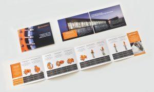 Referenz – Industrie – Broschüre, Lieferprogramm mini aufgeklappt